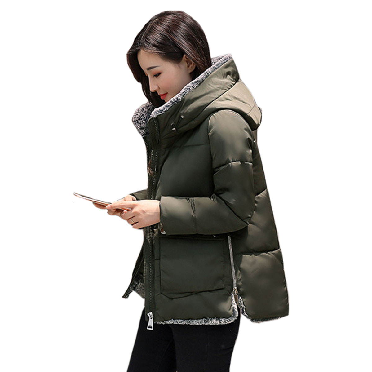 2017  Women Jackets Winter Parkas Female Warm Thicken Middle-Long Hooded Jacket Coat Cotton Padded Parkas