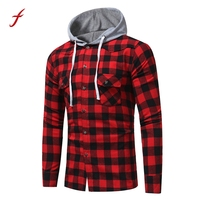 2017 Hoodies Men Sweatshirt Male Long Sleeve Sudaderas Hombre Lattice Printed Plaid Hoodie Hooded Sweatshirt Pullover