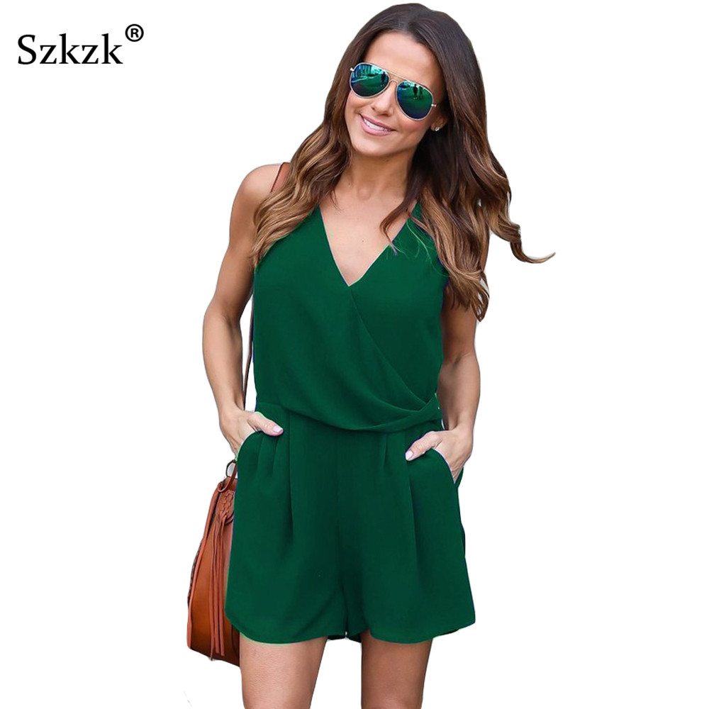 Szkzk 2019 Summer Style Chiffon Playsuits and   Jumpsuits   Black Green Sleeveless V-neck Sexy Women Casual Romper Beach Overalls