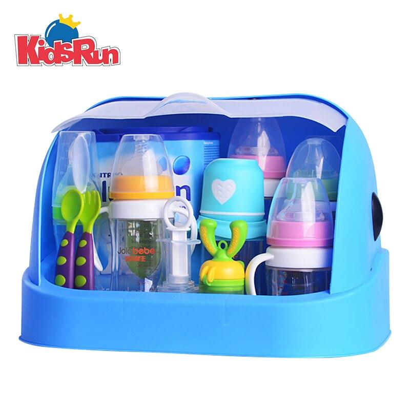 Kidsrun Baby Bottle Drying Rack Storage Box with Anti-dust Cover Infant Milk Powder Box Bottle Storage Boxes Baby Organizer