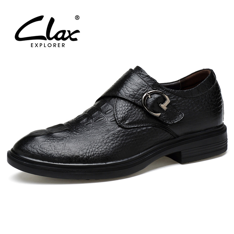 CLAX Mens Alligator Shoes Genuine Leather 2018 Crocodile Formal Shoes for Male Retro Vintage Black Dress Shoe Office Bussiness