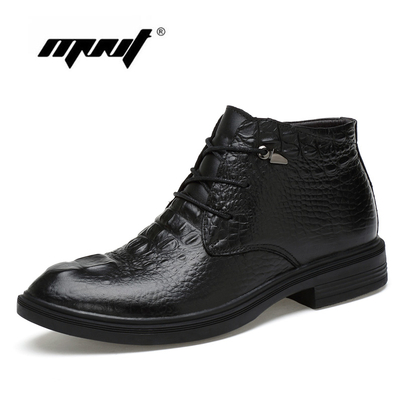 Fashion Men shoes Plus Size Ankle Boots Super Warm Plus Size Genuine Natural Leather Snow Boots Handmade Winter Shoes