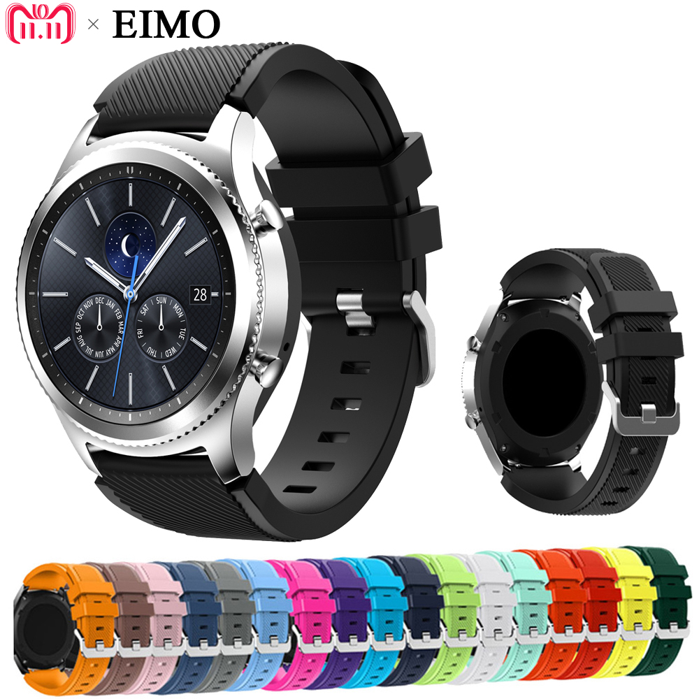 EIMO 22mm Silicone Strap for Samsung Gear S3 Classic Frontier Band Replacement Bracelet Wristband smartwatch bands Accessories silicone sport watchband for gear s3 classic frontier 22mm strap for samsung galaxy watch 46mm band replacement strap bracelet
