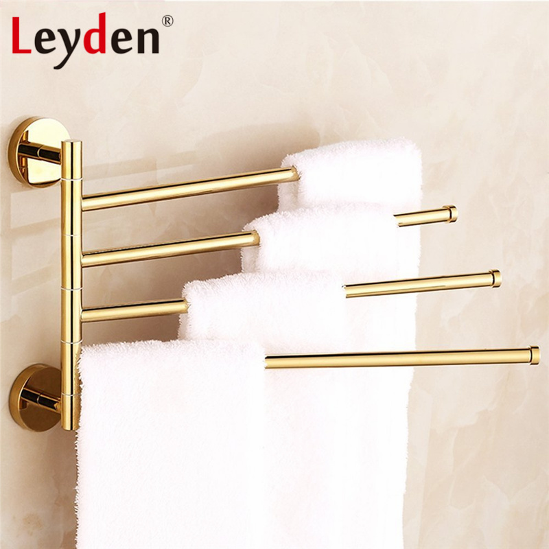 Leyden Copper Towel Bar 180 Degree Rotating Wall Mount Chrome/ Gold 4 Layer Activities Towel Bar Towel Rack Bathroom Accessories continental gold product towel rack bar activities multi pole design