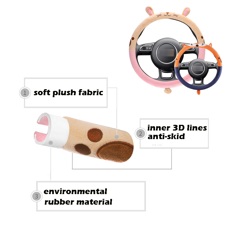 1 PC Plush Rabbit Car Steering Wheel Covers Autumn Winter Plush 38cm New Warm Steering Covers Cases Car Accessories