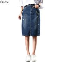 LXUNYI 8XL 2017 Autumn Korean Pencil Denim Skirts For Womens Plus Size Vintage Embroidery Midi Slim