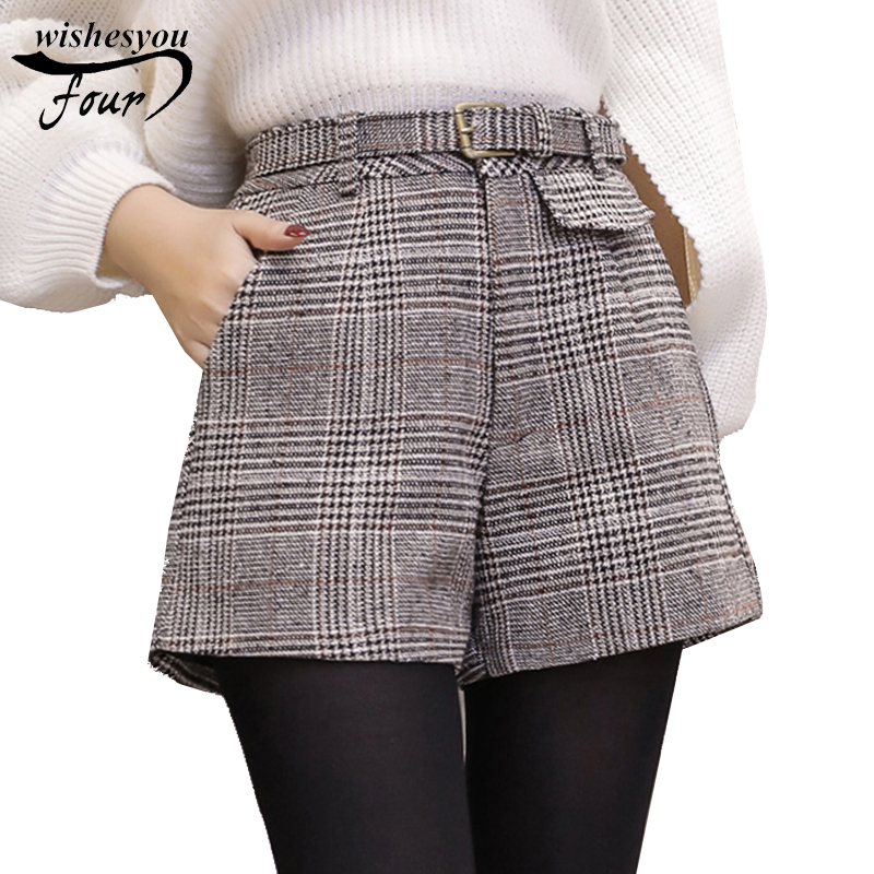 2018 new winter fashion a word wide leg vintage high waist   shorts   casual large size plaid wool   shorts   women   shorts   C934 30
