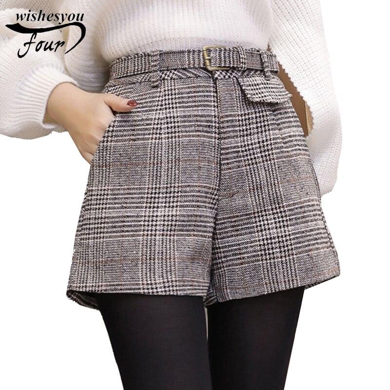 New Winter Fashion A Word Wide Leg  Vintage High Waist Shorts Casual Large Size Plaid Wool Shorts Women Shorts C934 30