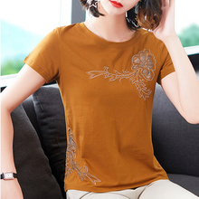 shintimes Plus Size T Shirt Women Diamonds Tshirt Floral Hollow Out Vintage Clothes 2019 Tees Tops Summer Cotton T-Shirt Femme