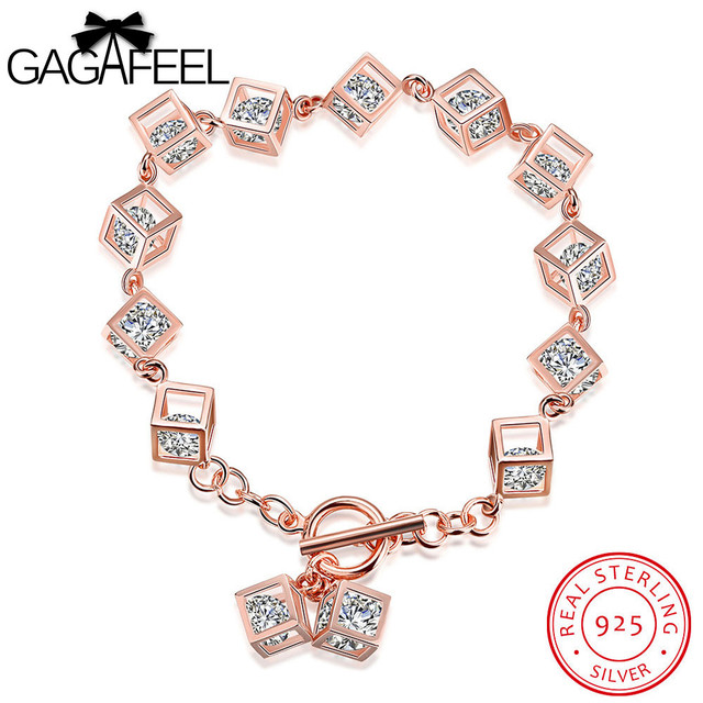 GAGAFEEL Women Bracelet Real Sterling Silver Jewelry Rose Gold Color