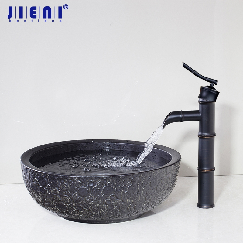 Black Bathroom Bowl Sink Ceramic Washbasin Handpainting Lavatory Bath Basin Combine with Brass Faucet Mixer Tap