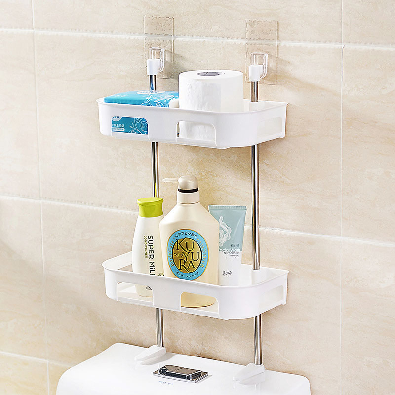 Nail-free Standing Toilet Storage Rack Multi-purpose Bathroom Storage Shelf Wall Mounted Kitchen Rack Space Saving  Decorative