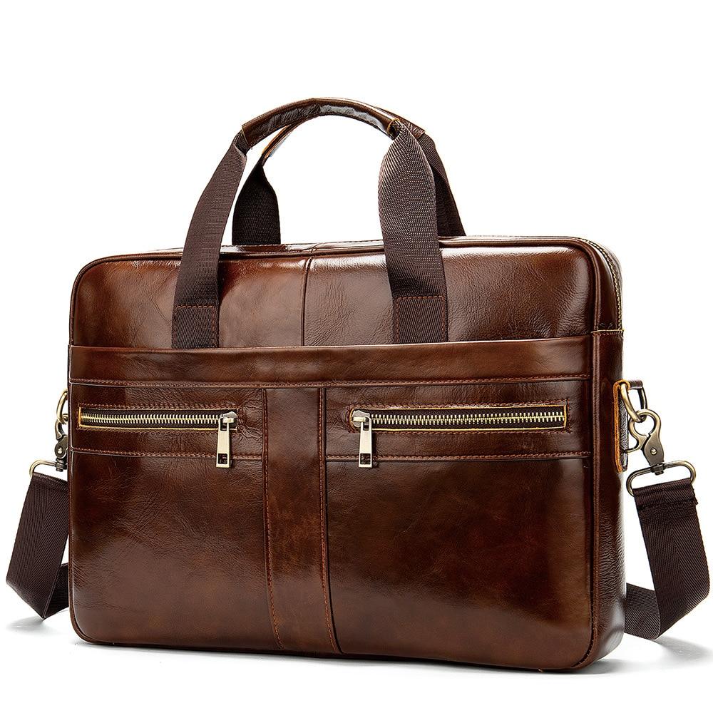 Luxury Vintage Cow Leather Men's Bag Business Bags Real Cowskin Genuine Leather Briefcase Shoulder Messenge Bags Laptop Bag
