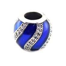 Granos adapta pandora charms pulseras de plata original 925 adorno de perlas transparentes royal-azul esmalte y los granos para la joyería de la cz haciendo