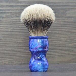 Image 5 - Dscosmetic 24mm Galaxy resina handle 2 banda cabelo silvertip pelo de texugo pincel de barba para o homem fazer a barba