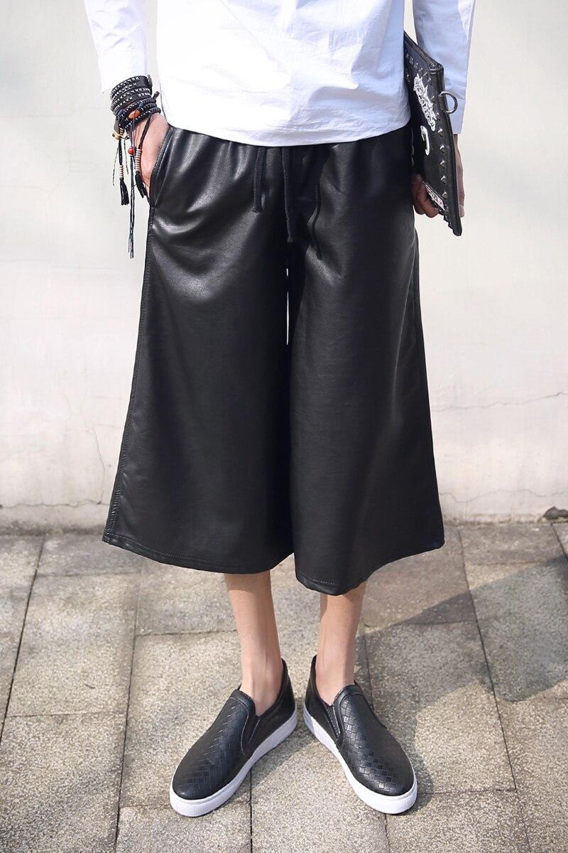 2016 Britischen Mann Harajuku Allgleiches Punk Breiten Bein Hosen Horn Sänger Kleid Coutmes Kleidung Bequemes GefüHl