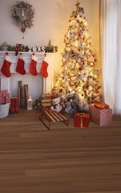 5x7ft Weihnachten Fotografie Hintergrund Kamin Baum Gifts Gedruckt