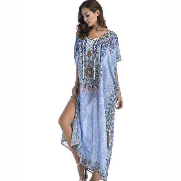 83b4b69ed3054 US $20.54 49% OFF|Women Summer Boho Beach Kaftan Dress Bohemian Floral  Print Loose Split Vintage Long Maxi Dresses Plus Size WF911-in Dresses from  ...