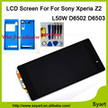1pcs Black  LCD display touch screen with digitizer with new back  front adhesive tap For Sony Xperia Z2 D6502 D6503 D6543 L50W