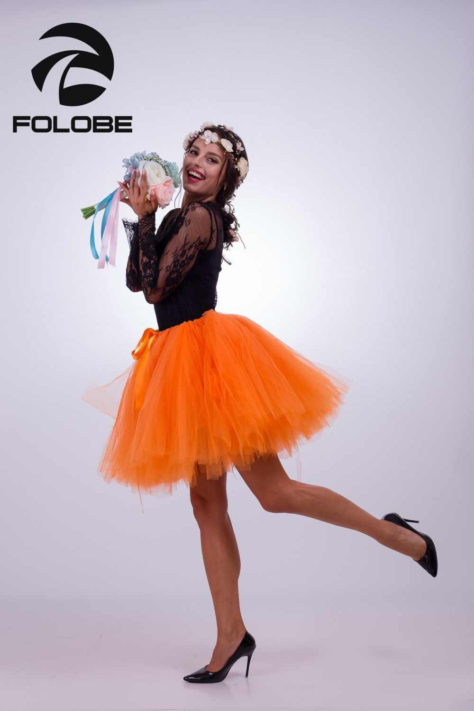 2b40747dac ... FOLOBE Orange Short Tulle Skirt Casual Tutu Skirts Women Ball Gown  Party Petticoats faldas saia jupe