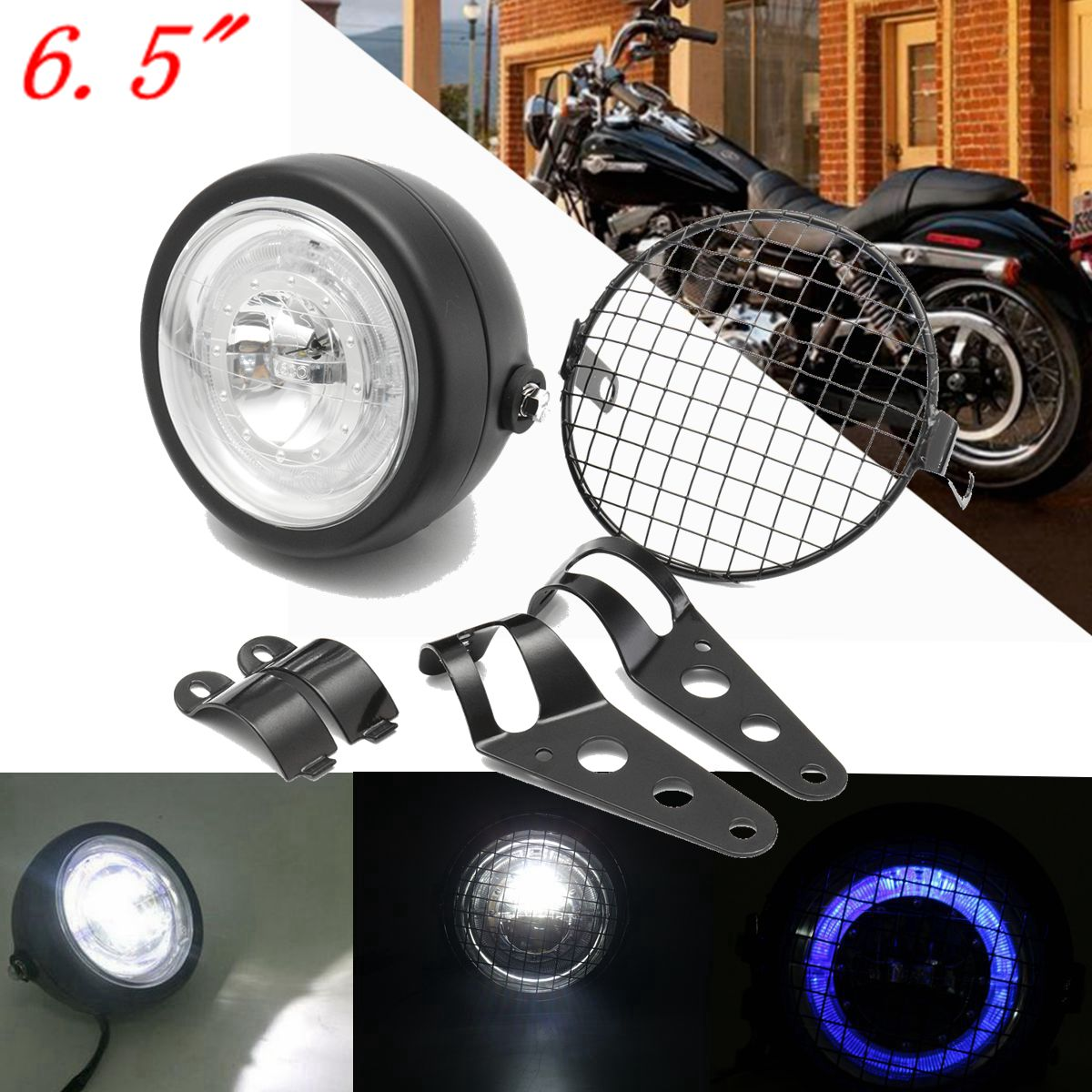 Universal 6.5 inch 12V Retro Motorcycle Headlight High/Low Beam Headlamp Grill Side Grille Mount Cover W/ Bracket Cafe Racer