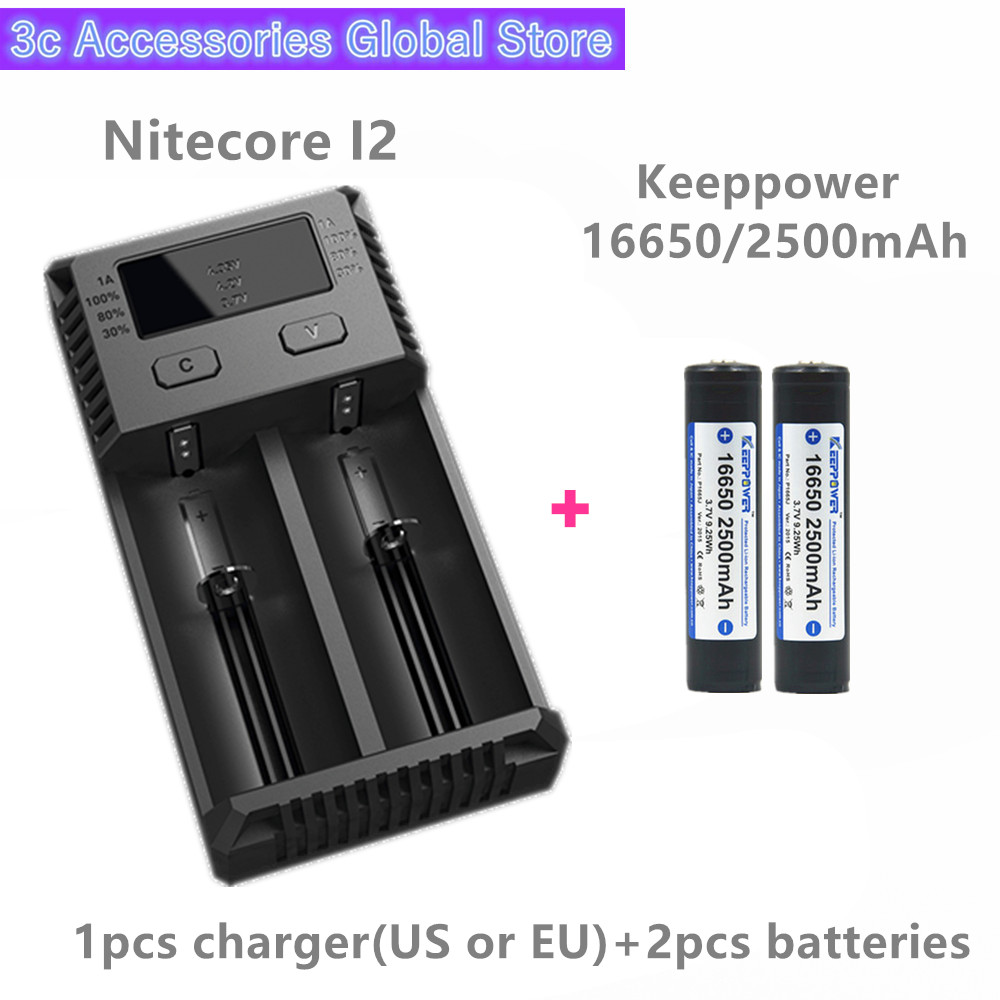 Keeppower 2pcs 16650 2500mAh P1665J protected li ion rechargeable battery with Nitecore New I2 Digi charger LCD Intelligent SET-in Rechargeable Batteries from Consumer Electronics    1