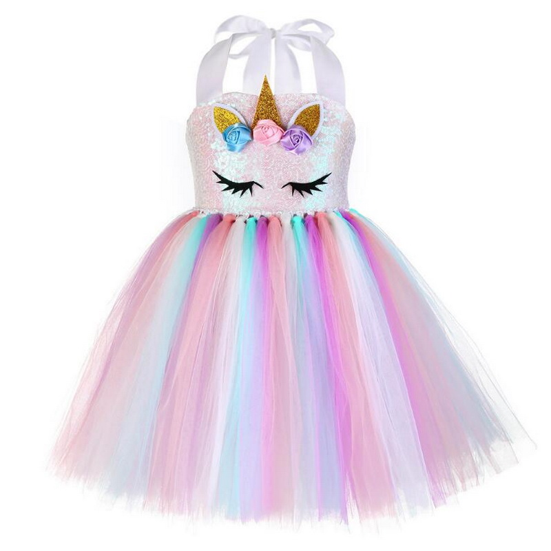 Dresses Unicorn Rainbow Girls Dress Sequins Tutu Tulle Baby Kids Birthday Headband New Dresses
