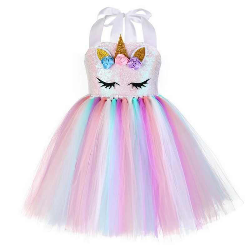301fbc954bf0 ... Girls Unicorn Pony Costume With Headband Tutu Dress Flower Sequin Princess  Girls Party Dress Children Kids ...