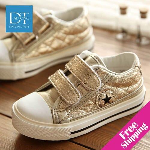 New 2015 Children Shoes Boys Canvas Shoes Gold & S...