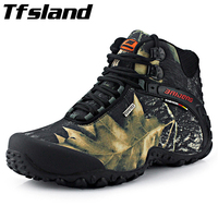 Men Waterproof Canvas Hiking Shoes Anti Skid Wear Resistant Breathable Boots Fishing Climbing High Top Trekking