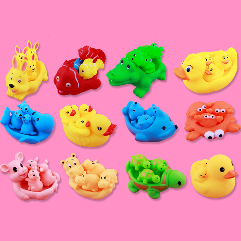 3set /12pcs Soft Rubber Duck Animals pig Kids Water Toys Squeeze ...