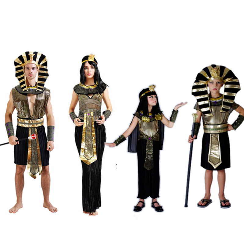 Cleopatra Sexy Antico Faraone Egiziano Costume Abbigliamento Vestiti Delle Ragazze Dei Capretti Ragazzi Bambini Bambino Costumi Donne Uomini Adulti Di Sesso Femminile Imballaggio Di Marca Nominata