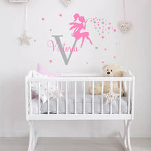 Fairy with Name Custom Wall Decal Stars Sticker Tink Bell Girl Nursery Decor 754C