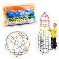 100/200 pcs Montados Blocos de Construção Crianças Brinquedo Educacional Colorido Canudo De Plástico Luta Inserido Blocos de Presente de Natal