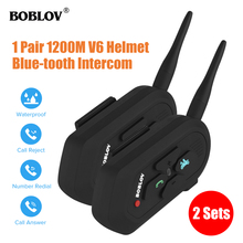 2Sets Boblov Motorcycle Wireless Blue-tooth Helmet Headphone Interphone Waterproof 1200M Motorbike Call Music Speakers Mic