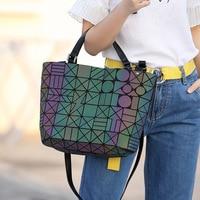 Famous Brands Women Bucket Bag Geometic Sequins Mirror Laser Plain Folding Bags Luminous Handbags PU Casual