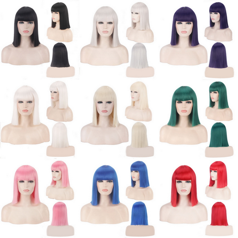 14inch Synthetic Bob Wig Blonde Green Red Pink Blue Pink Black Wigs For Women Anime Cosplay Straight Hair Bangs Heat Resistant