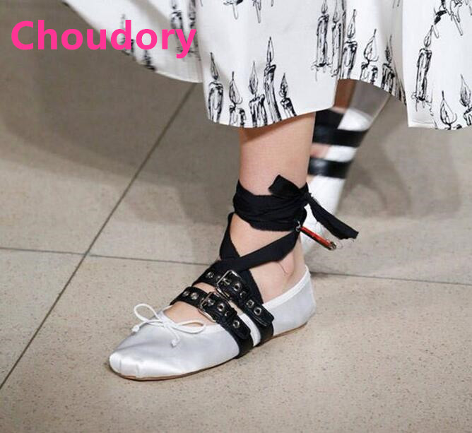Здесь можно купить   Spring new ballet flats for woman nude/white/red/black 4 colors cross-tied buckles strap casual shoes flat shoes woman Обувь