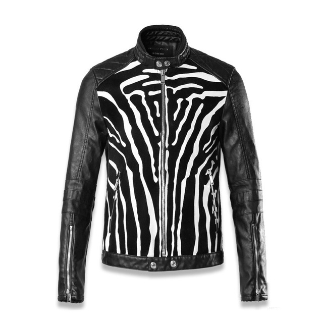 Men leather jacket Zebra lines splicing PU leather Sleeve zipper motorcycle jacket men fashion slim fit jacket men coats K475