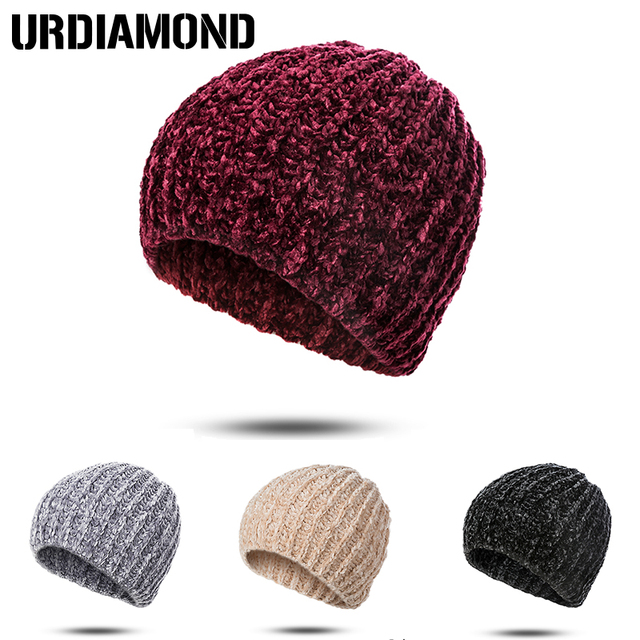 URDIAMOND invierno sombrero de hombre de mujer de punto de moda Casual  Color sólido clásico lana 4ffb98bc124