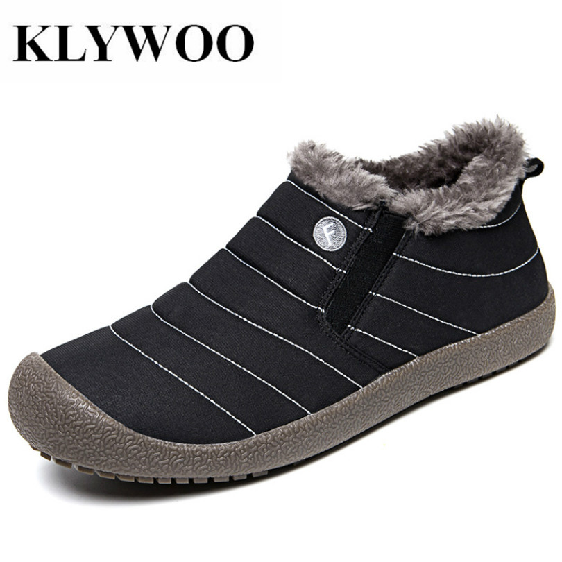 KLYWOO Big Size 36-48 Winter Mens Casual Shoes Leather Fashion Mens Ankle Boots Plush Warm Waterproof Mens Fur Snow Boots Black цена 2017