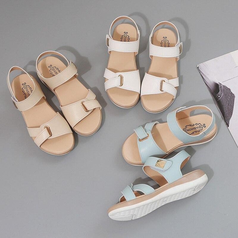 HTB1bC44XtzvK1RkSnfoq6zMwVXaX Summer Women Sandals platform heel Leather hook loop metal Soft comfortable Wedge shoes ladies casual sandals V284