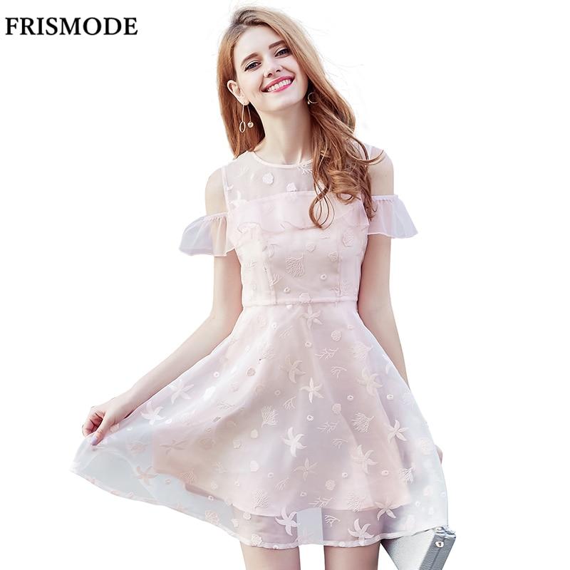 Frismode милый бледно-розовый вышивка органзы платья 2017 новый оборками бабочка рукавом качели платье de festa женщины лето dress