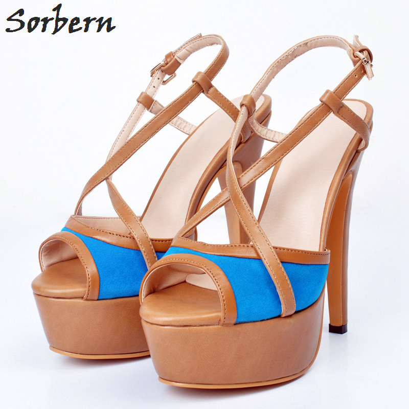 Sorbern High Heels Sandals Shoes For Women Ladies Sandals 2018 Summer Shoes Buckle Strap Peep Toe Plus Size Party Shoes Sandale zorssar brand 2017 high quality sexy summer womens sandals peep toe high heels ladies wedding party shoes plus size 34 43