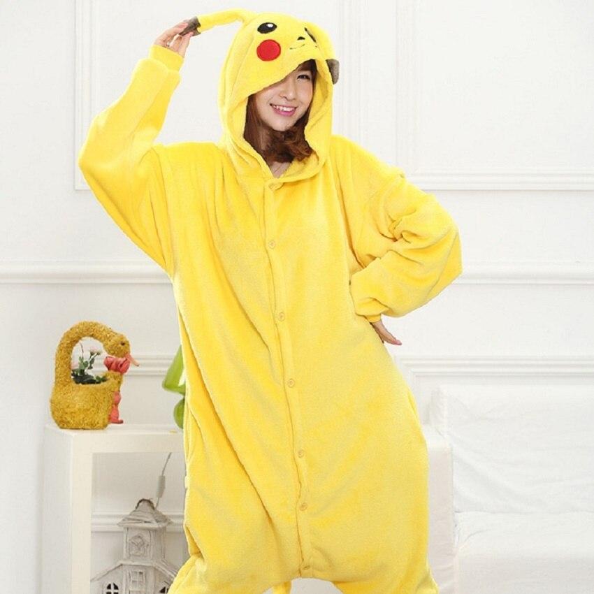 Bambino Adulto Pikachu Kigurumi Tutina Delle Donne di Origine Animale Costume Fancy Morbido Anime Pokemon Cosplay di Un Pezzo del Bambino Della Ragazza del Ragazzo di Inverno Tuta