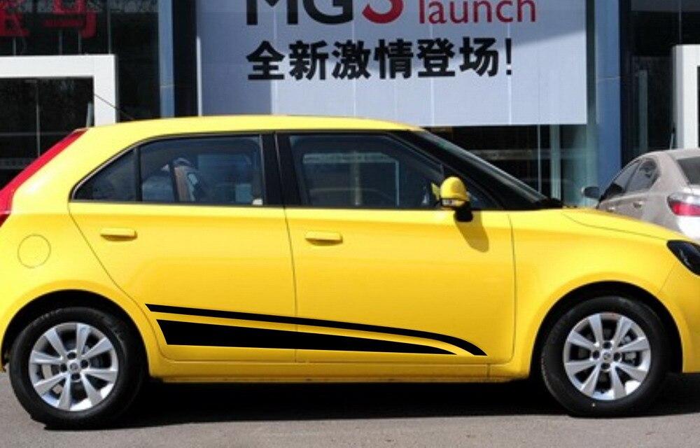Decalque do carro dupla esportes listras para mg3 vinil inferior porta painel adesivo zc1058
