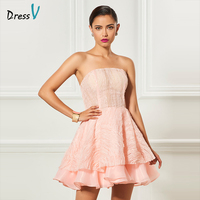 Dressv Light Pink Strapless Cocktail Dress Short Mini Zipper Up Sleeveless Wedding Party Formal Dress Ball