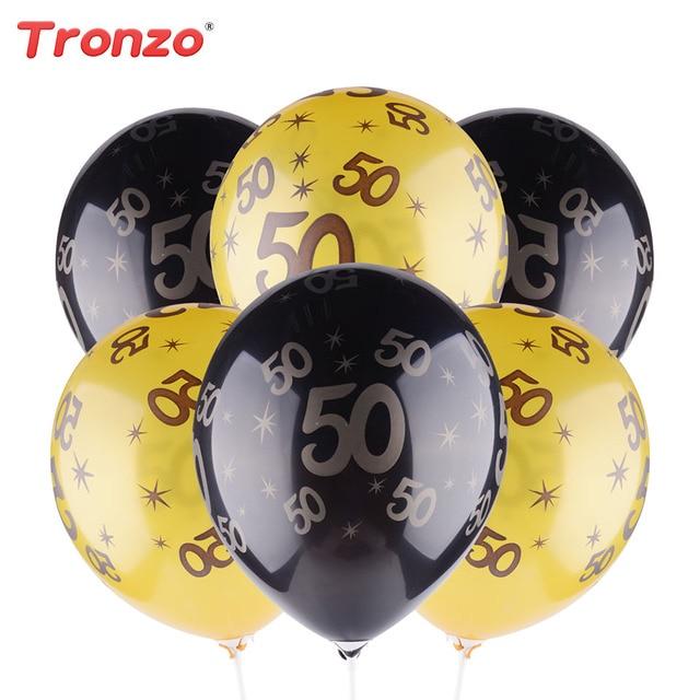 Tronzo 30th 40th 50th Birthday Balloon Gold Black Happy Birthday