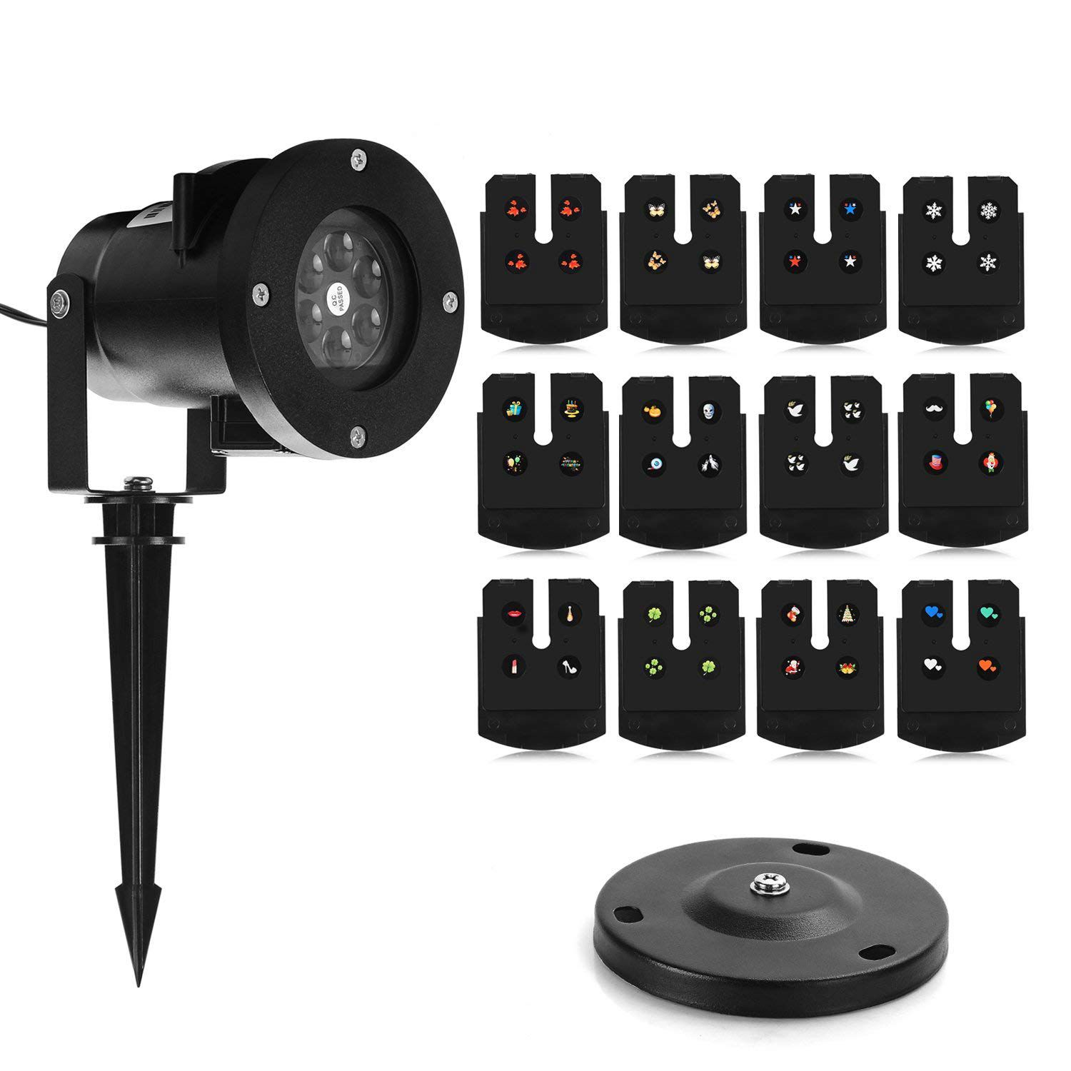 Holiday Projector Lights, LED Projector Lights with 12 Switchable Patterns, Indoor and Outdoor for Holiday Landscape Decoration