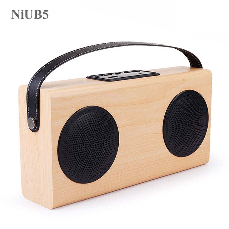 NiUB5 Outdoor Wireless Portable Wooden Bluetooth Speaker with Mobile Power Phone 3D Stereo Subwoofer Portable Speaker